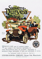 Stevens-Duryea ad with old car