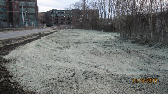 Discolored soil in remediation area