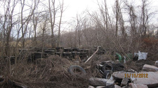 Old tires in demolition zone