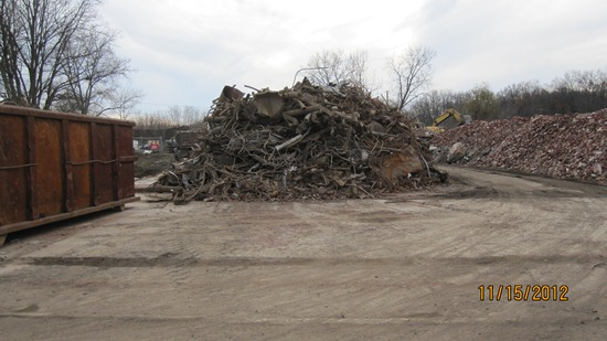 Dirt and rubble pile in demolition zone