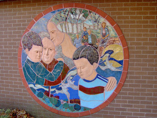 Mural on front of Senior Center