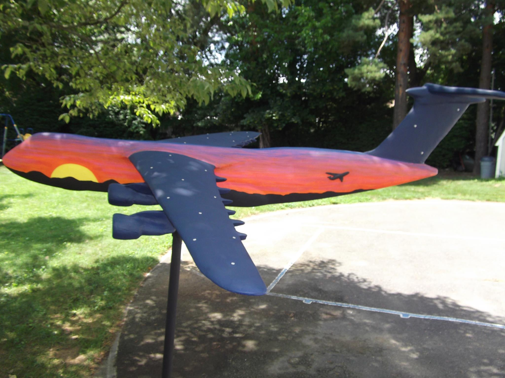 Sunset airplane model close up side