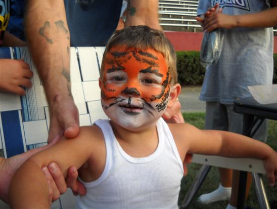 Face Painted Like a Tiger