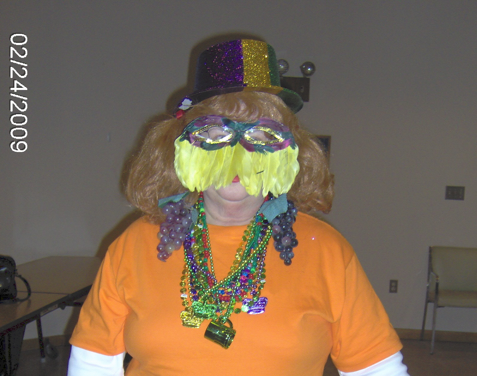 Laurie Mailloux in her Mardi Gras finery